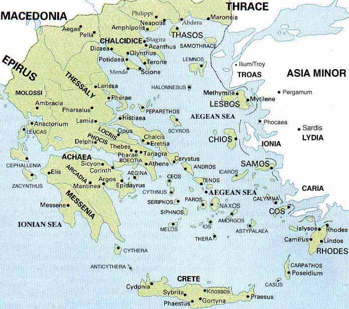 Map of City States of Greece